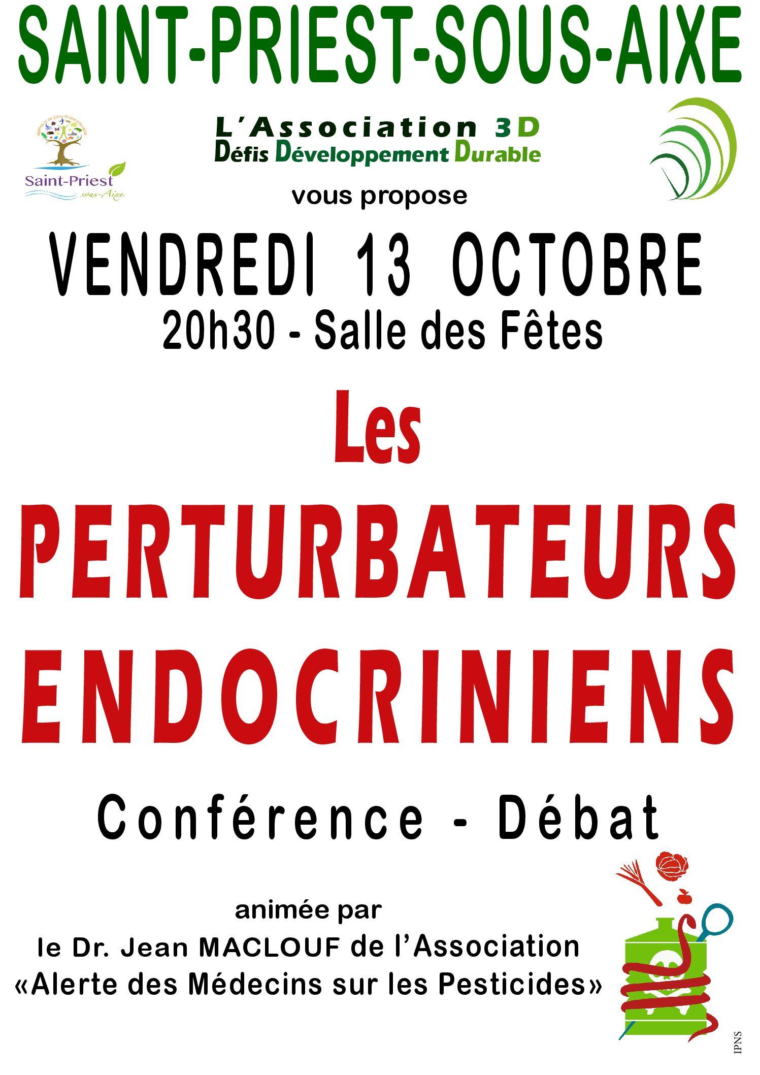 Conférence 3D «Les perturbateurs endocriniens» 13 Octobre 2017